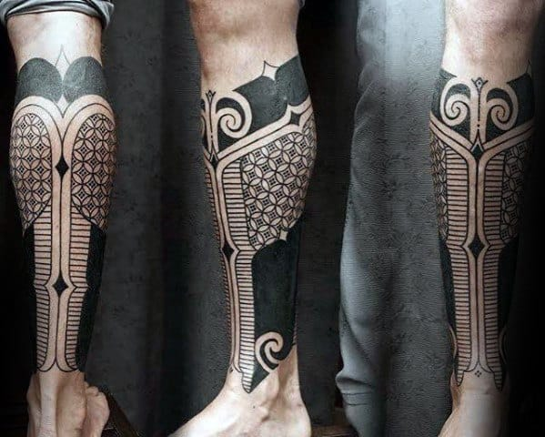 Guys Tattoos With Blackwork Geometric Leg Sleeve Design
