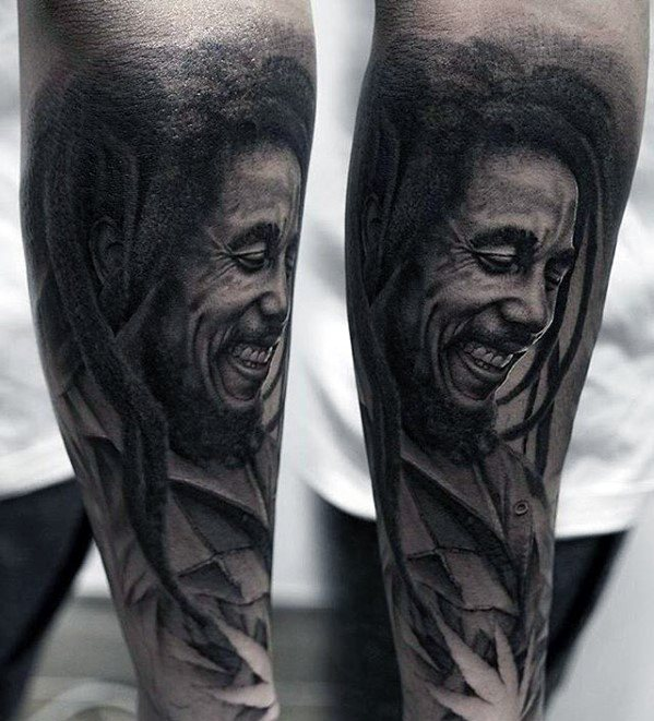 Guys Tattoos With Bob Marley Design