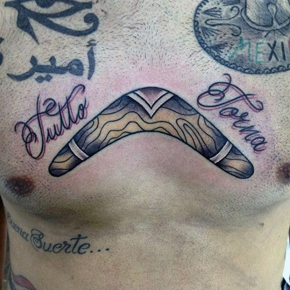 Guys Tattoos With Boomerang Design