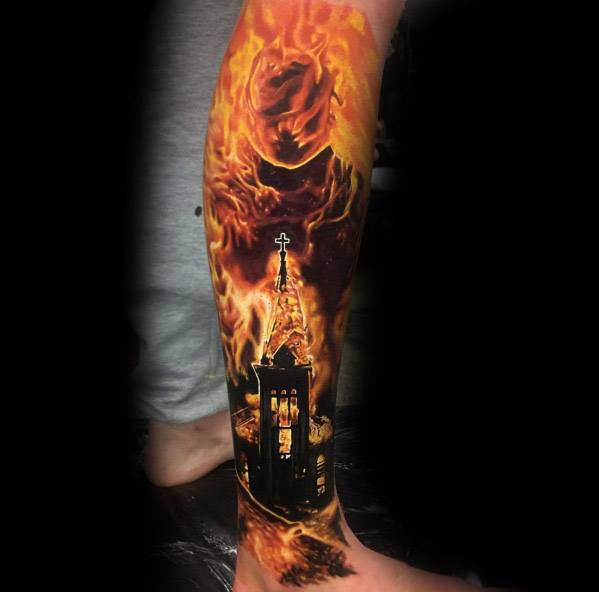 Guys Tattoos With Burning Church Design