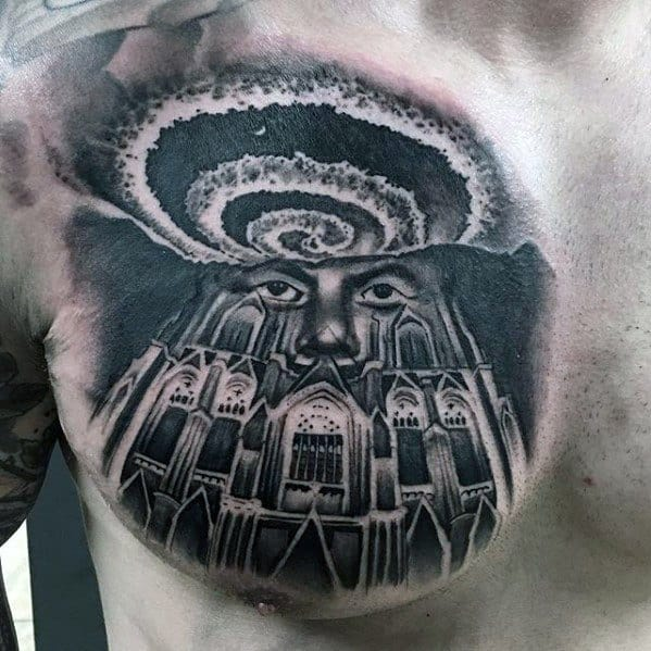 Guys Tattoos With Cathedral Design On Chest
