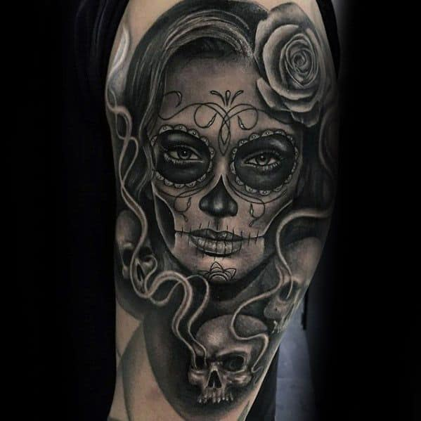 Guys Tattoos With Catrina Design