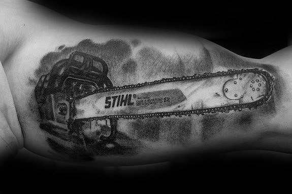 Guys Tattoos With Chainsaw Design