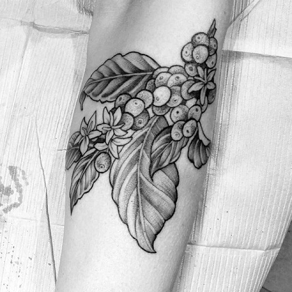 Guys Tattoos With Coffee Plant Arm Design
