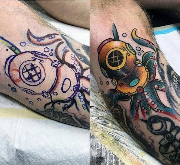 Guys Tattoos With Diving Helmet Design On Leg