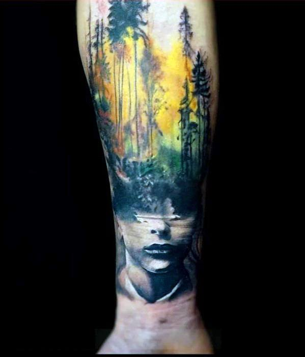 Guys Tattoos With Double Exposure Design