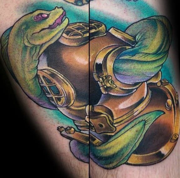Guys Tattoos With Eel And Diver Helmet Arm Design
