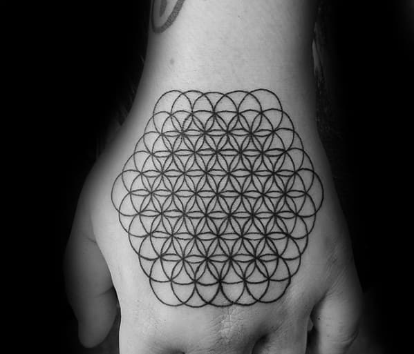 Guys Tattoos With Flower Of Life Geometric Hand Design
