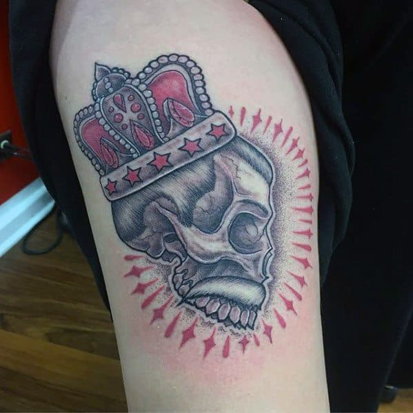 Guys Tattoos With Freddie Mercury Skull Upper Arm Design