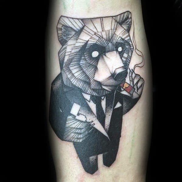 Guys Tattoos With Geometric Animal Design