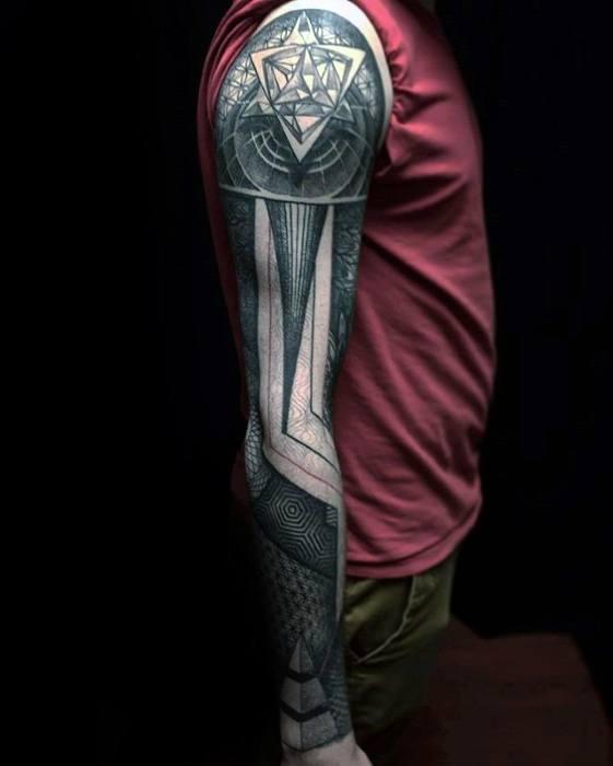 Guys Tattoos With Geometric Sleeve Design