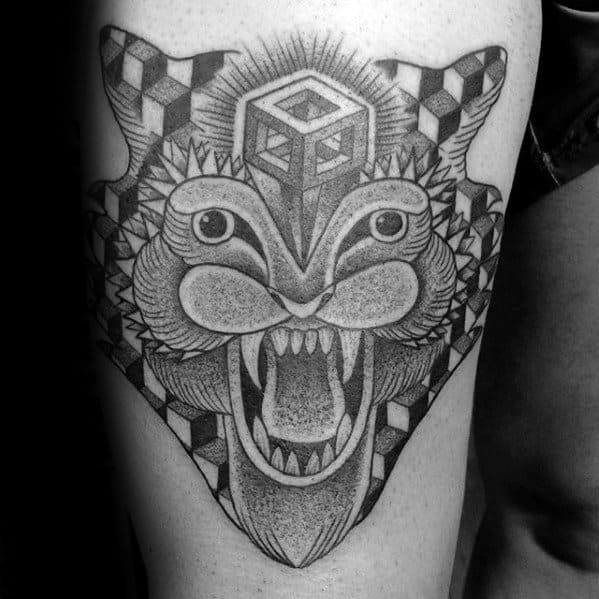 Guys Tattoos With Geometric Tiger Design