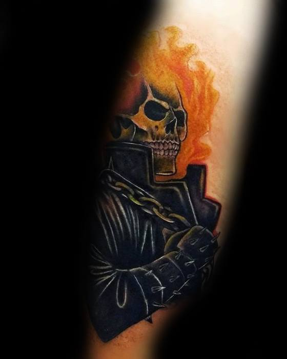 Guys Tattoos With Ghost Rider Design