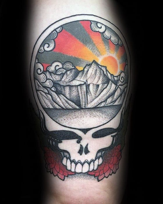 Guys Tattoos With Grateful Dead Design