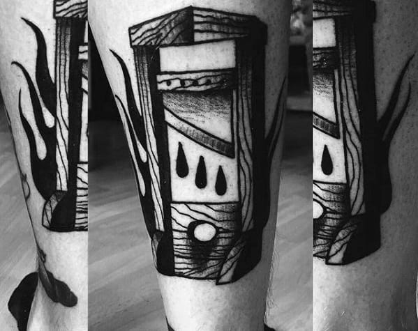 Guys Tattoos With Guillotine Design