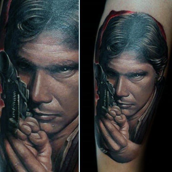Guys Tattoos With Han Solo Design On Leg