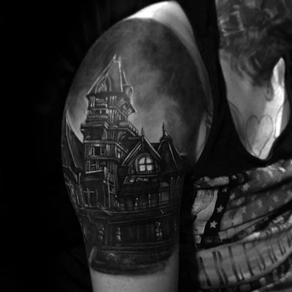 Guys Tattoos With Haunted House Design