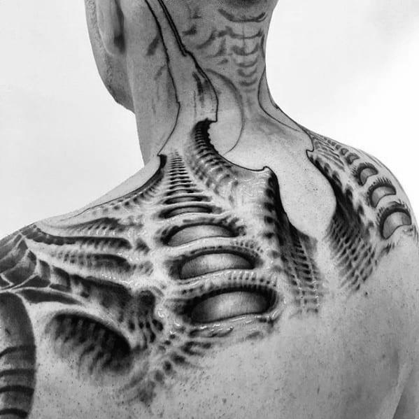 Guys Tattoos With Hr Giger Design
