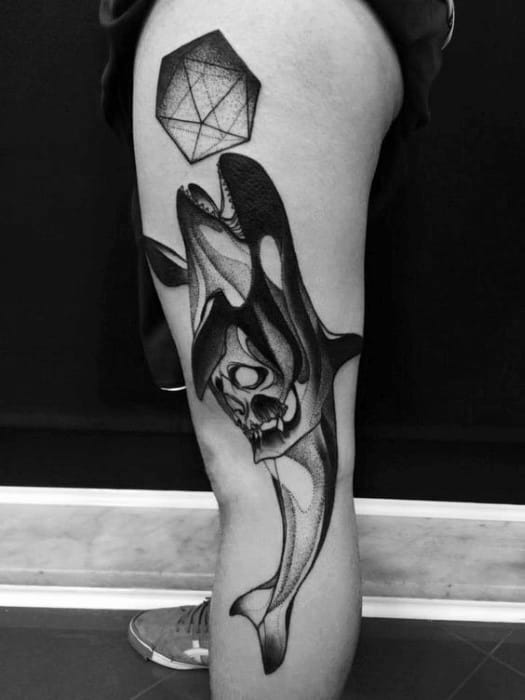 Guys Tattoos With Icosahedron Design