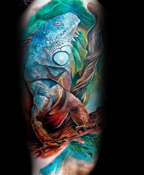 Guys Tattoos With Iguana Design