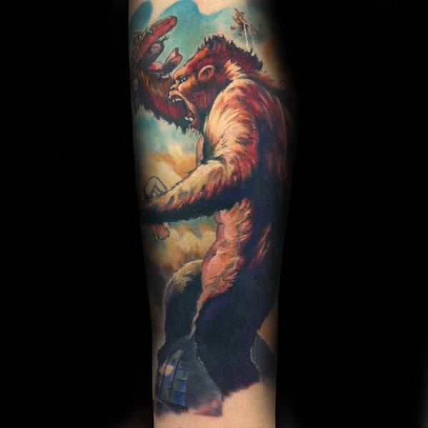 Guys Tattoos With King Kong Design