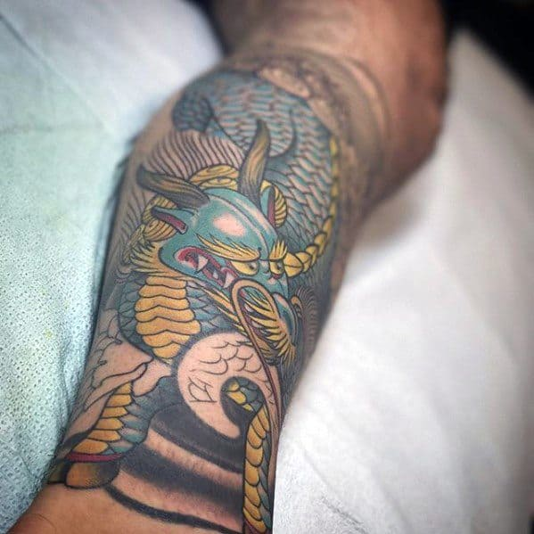 Guys Tattoos With Kirin Design