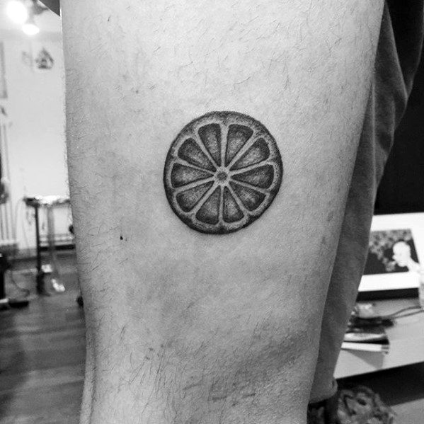 Guys Tattoos With Lemon Design