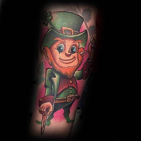 Guys Tattoos With Leprechaun Design