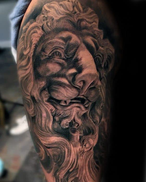 Guys Tattoos With Lion Statue Design