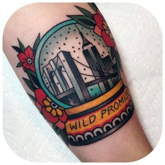 Guys Tattoos With New York Skyline Design On Arm
