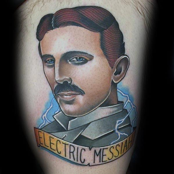 Guys Tattoos With Nikola Tesla Design