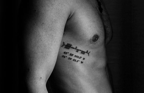 Guys Tattoos With Ogham Design Rib Cage Side