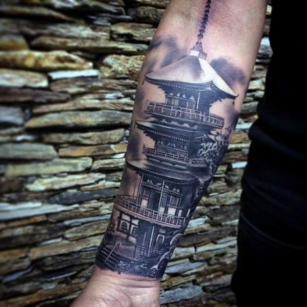 Guys Tattoos With Pagoda Design