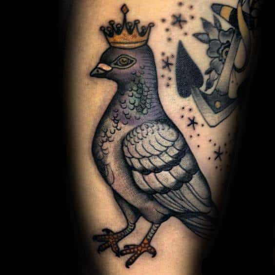 Guys Tattoos With Pigeon Design