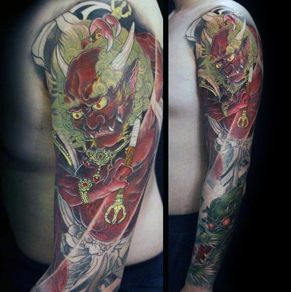 Guys Tattoos With Raijin Design