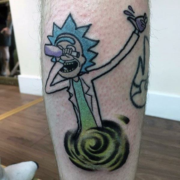Guys Tattoos With Rick And Morty Design On Back Of Leg