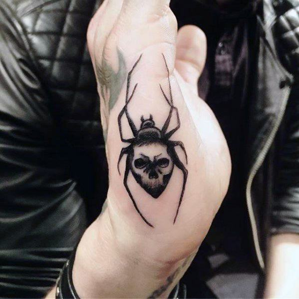 Guys Tattoos With Simple Side Of Hand Spider With Skull Design