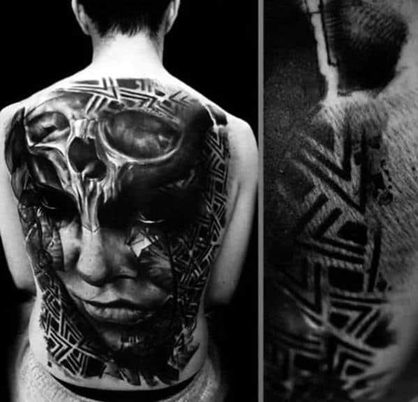 Guys Tattoos With Skull Back Design