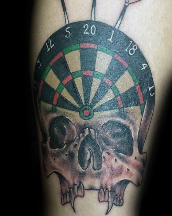 Guys Tattoos With Skull Dart Design