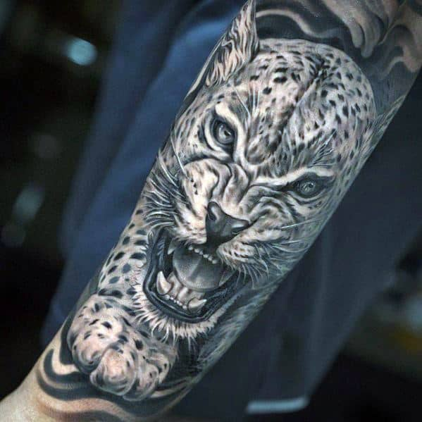 Guys Tattoos With Snow Leopard Design