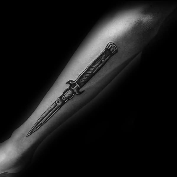 Guys Tattoos With Switchblade Design Side Of Forearms