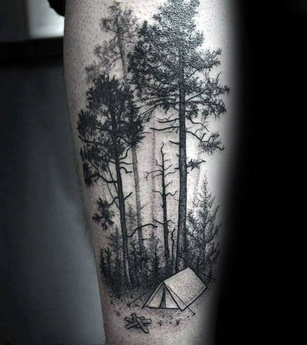 Guys Tattoos With Tent Forest Of Trees Design On Forearm