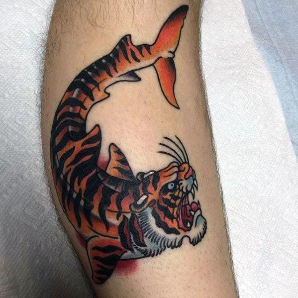 Guys Tattoos With Tiger Shark Design