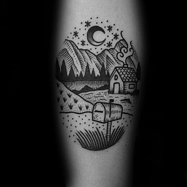 Guys Tattoos With Traditional Mountain Design