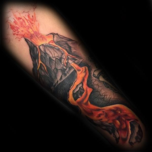 Guys Tattoos With Volcano Hot Lava Design On Forearm