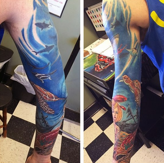 Guys Tattoos With Water Full Sleeve Design Ideas