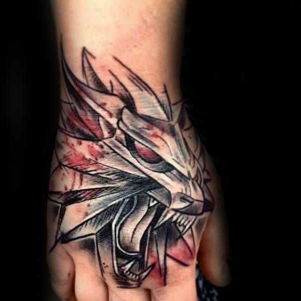 Guys Tattoos With Witcher Design