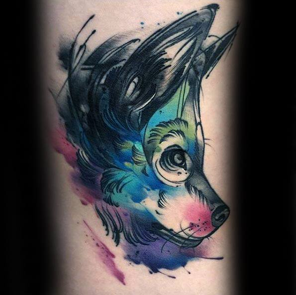 Guys Tattoos With Wolf Watercolor Design