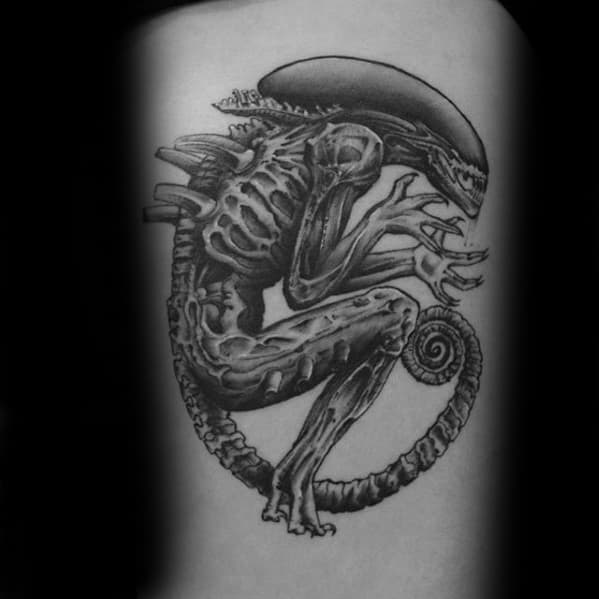 Guys Tattoos With Xenomorph Design