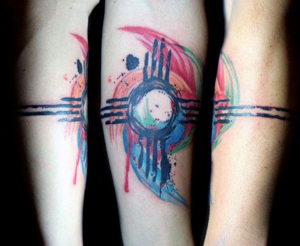 Guys Tattoos With Zia Design Watercolor Forearm Band